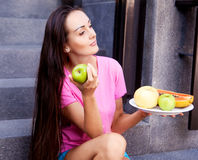 Woman with fruit Royalty Free Stock Images