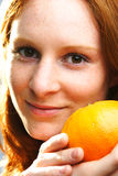 A Woman with Fruit Royalty Free Stock Photo