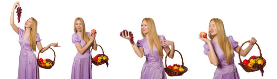 The woman with fruit basket isolated on white Stock Photography