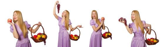 The woman with fruit basket isolated on white Royalty Free Stock Photo