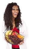 Woman with fruit basket very happy Royalty Free Stock Photo
