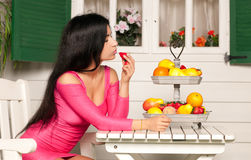 Woman and Fruit Stock Image