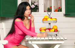 Woman and Fruit Royalty Free Stock Photos