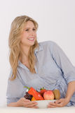 Woman with Fruit Bowl Royalty Free Stock Photo