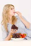 Woman with Fruit Bowl Royalty Free Stock Photography