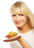 Woman with fruit cake royalty free stock image