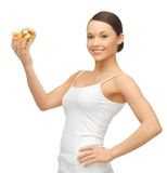 Woman with fruit coctail. Picture of beautiful woman with fruit coctail Royalty Free Stock Image
