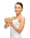 Woman with fruit coctail. Picture of beautiful woman with fruit coctail Royalty Free Stock Images