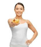 Woman with fruit coctail. Picture of beautiful woman with fruit coctail Royalty Free Stock Photos