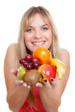 Woman fruit diet. Woman with healthy fresh fruit diet royalty free stock images