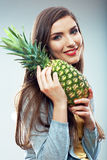 Woman fruit diet concept portrait with Green pineapple Stock Photos