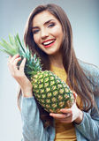 Woman fruit diet concept portrait with Green pineapple Royalty Free Stock Photos