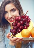Woman fruit diet concept portrait with tropic fruits Royalty Free Stock Images