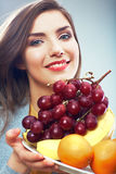 Woman fruit diet concept portrait with tropic frui Stock Photos