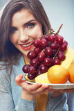 Woman fruit diet concept portrait with tropic fruits Royalty Free Stock Photo