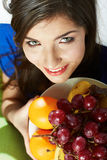 Woman fruit diet portrait Royalty Free Stock Image