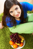 Woman fruit diet portrait Stock Photos
