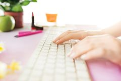Woman and fruit diet while working on computer in office. Female hands on keyboard. Side view on woman. Trendy color pink desk. Woman, stilish workplace. Pc Stock Photos
