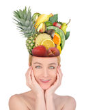 Woman with Fruit Food Head Royalty Free Stock Image