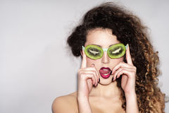 Woman in fruit glasses Stock Images
