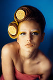 Woman with fruit in hair Royalty Free Stock Image