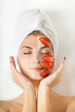Woman with fruit mask Royalty Free Stock Images