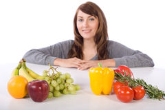Woman fruit and vegetables Royalty Free Stock Image