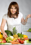 Woman with fruit & veggies royalty free stock photo