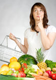 Woman with fruit & veggies stock images