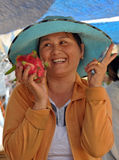 Woman Fruit Vendor, Hoi An, Vietnam Stock Photo