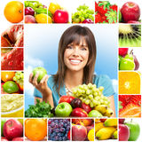 Woman and fruits Stock Photos