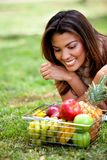 Woman with fruits Royalty Free Stock Photography