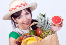 Woman with fruits Royalty Free Stock Photos