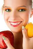 Woman with fruits Royalty Free Stock Image