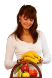 Woman and fruits Stock Image