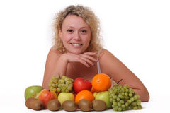 Woman with fruits Royalty Free Stock Photo