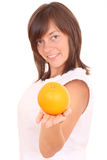 Woman and fruits Stock Images