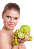 Woman With Fruits Stock Images