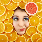 Woman and fruits Stock Photo