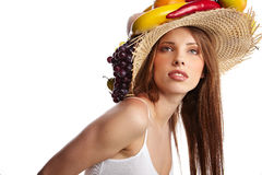 woman with fruits headwear. Stock Photo