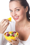 Woman with fruits, isolated Stock Photography