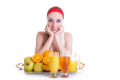 Woman with fruits and juice Stock Photo