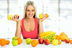 Woman with fruits Royalty Free Stock Images
