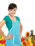 Woman with fruits and vegetables Stock Photo