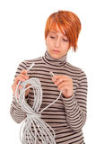 Woman frustrated of the cable Stock Photos