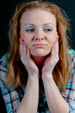 Woman with frustrated emotions on his face Royalty Free Stock Photography
