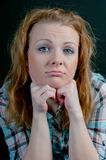 Woman with frustrated emotions on his face Royalty Free Stock Photo