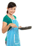 Woman with frying pan. Young woman with frying pan ready to cook something Royalty Free Stock Images