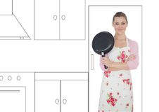 Woman with frying pan and hands folded in illustrator of kitchen. Digital composite of woman with frying pan and hands folded in illustrator of kitchen Stock Photography
