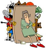 Woman with a full closet. This illustration depicts a woman trying to hold back the broken door of an overflowing closet Royalty Free Stock Photography